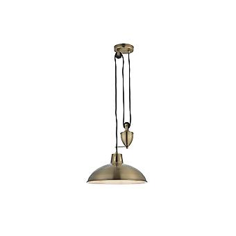 THLC Modern Rise And Fall Ceiling Pendant Light In Antique Brass Finish