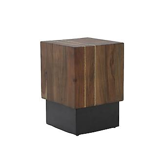 Mesa lateral leve e viva 28x28x40cm Macuma Wood and Black