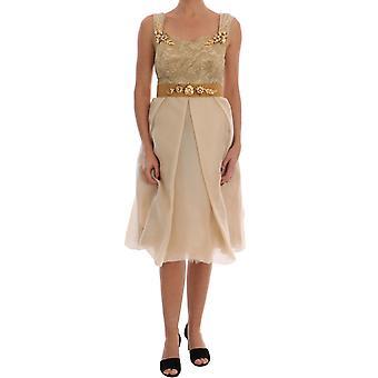Dolce & Gabbana Gold Silk Crystal Vestido embelezado