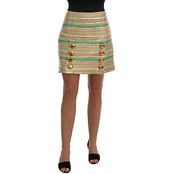 Dolce & Gabbana Gold Button Green Jacquard Skirt