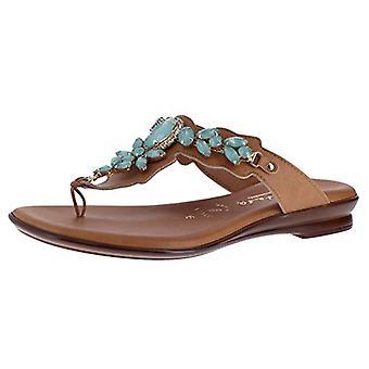 Italian Shoemakers Laila Damiani Luggage/Aqua Womens Thong Size 10M