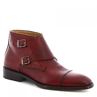 Leonardo Shoes Men's handmade ankle boots shiny burgundy calf leather buckles