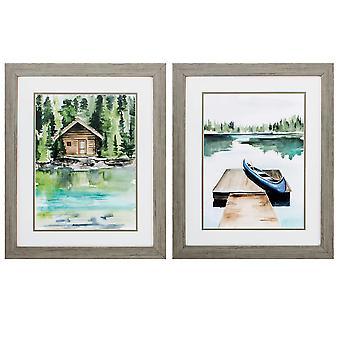 "19"" X 23"" Woodtoned Frame Lake Views (Set of 2)"