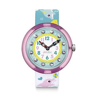 Flik Flak Fbnp035 Splashy Dolphins Pink & Green Textile Watch