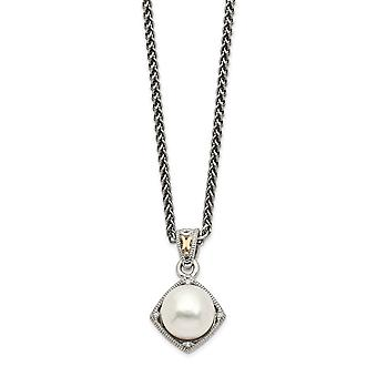 18mm 925 Sterling Silver With 14k Freshwater Cultured Pearl and Diamond Necklace Jewelry Gifts for Women