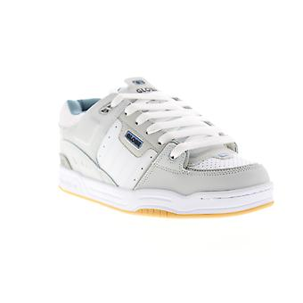 Globe Fusion  Mens White Gray Leather Lace Up Athletic Skate Shoes