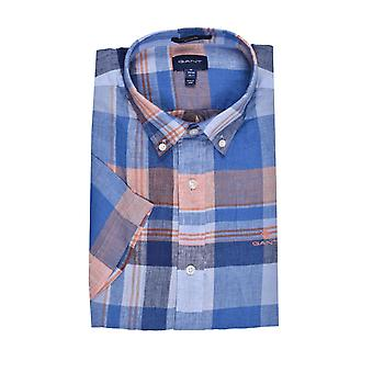 Gant D2 Linen Madras Regular Fit Button Down Colla Hamptons Blue