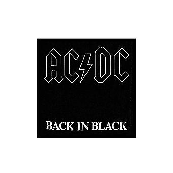 AC/DC Patch Back in Black Band Logo Official woven sew on Black (10 cm x 10 cm)