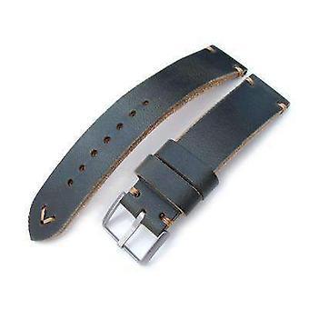 Strapcode leather watch strap 20mm, 22mm miltat horween chromexcel watch strap, blackish green, brown stitching