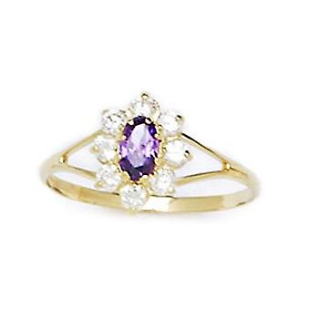 14k Yellow Gold Purple CZ Cubic Zirconia Simulated Diamond Size 5.5 Oval Flower for boys or girls Ring