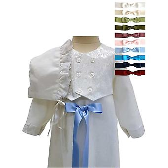 Christening Gown For Boys,  In Linen With Brocade Vest And Bonnet, 10 Choices Of Bow