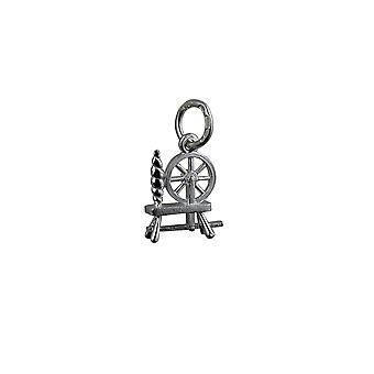 Silver 11x10mm Spinning Wheel Pendant or Charm