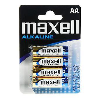 Alkaline Batteries Maxell 1.5V AA PK4 AA 1,5 V