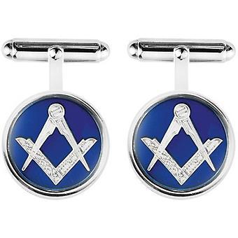 Orton West Sterling Silber Freimaurer Manschettenknöpfe - silber/blau