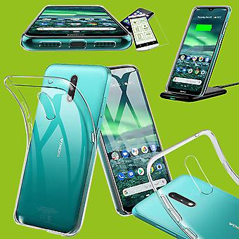 For Nokia 2.3 Silicone Case TPU Transparent + 0.26 H9 Glass Case Sleeve Cover