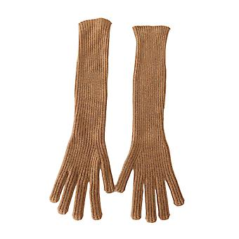 Dolce & Gabbana Beige 100% Cashmere Knitted Elbow Gloves LB275-S