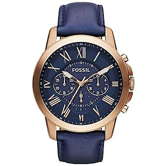 Fossil FS4835 Grant Rose Gold tone Case Blue Leather Band Men's Watch