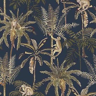 Amazonia Monkey Trees Jungle Wallpaper Navy Blue World of Wallpaper WOW038