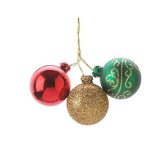 3 Classic Wired Christmas Bauble Ornaments for Wreaths & Floristry