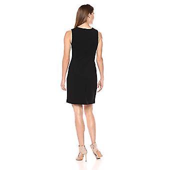 Brand - Lark & Ro Women's Sleeveless Crewneck Sheath Dress with Seaming, Black, 8