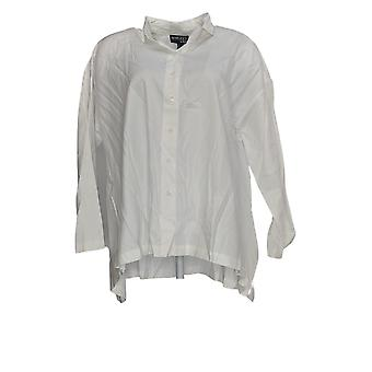 Women with Control Women's Top Button Front Twill Shirt White A367740
