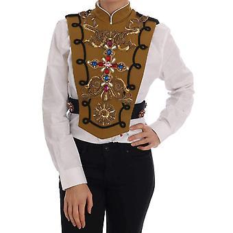 Dolce & Gabbana keltainen kristalli risti liivi takki--TSH1192048