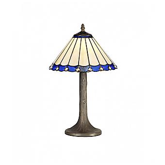 Calais 1 Light Tree Like Table Lamp E27 With 30cm Tiffany Shade, Blue/c/crystal/aged Antique Brass