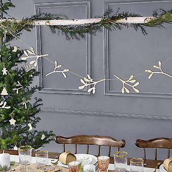 Wooden Christmas Decoration Mistletoe Garland Bunting 1.2m