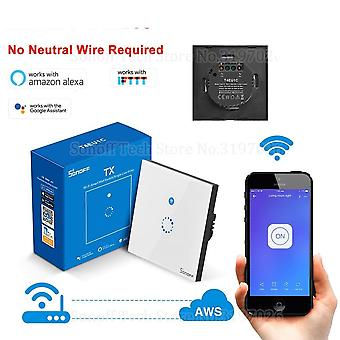 Wall Wifi Smart Touch Switch No Neutral Wire Required, Operate Via Ewelink