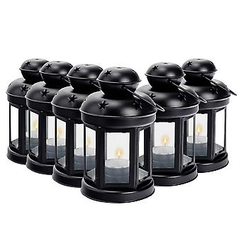Nicola Spring Candle Lanterns Tealight Holders Metal Hanging Indoor Outdoor - 16cm - Black - Set 6