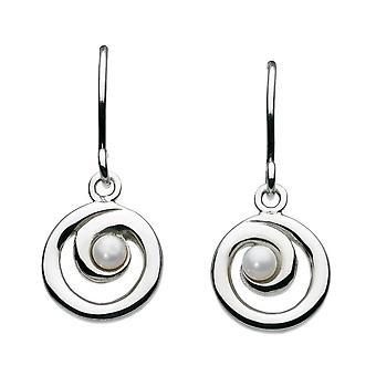 Dew sterling zilver Zoetwaterparel spiraal drop oorbellen 58007FP001