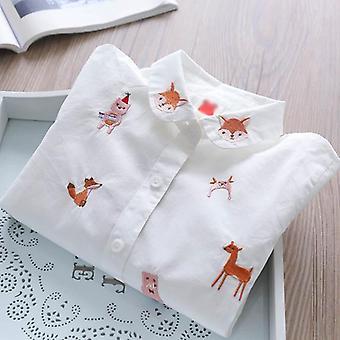 Dziewczyny bluzka z długim rękawem- jesienne ubrania dla dzieci dziewczyny 8 do 12 Kreskówek Fox Embroidery Tops Cotton School Koszule