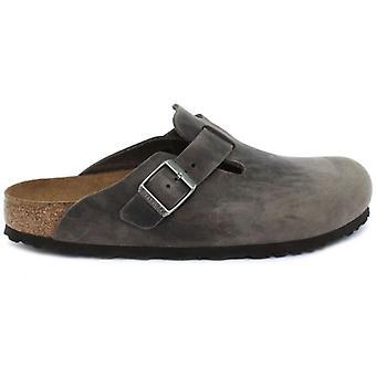 Sabot Birkenstock Boston Grey i olieret læder - Tight Fit