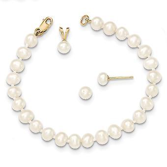 14Κ κίτρινο χρυσό 4 5 mm γλυκού νερού καλλιεργούνται μαργαριτάρι κρεμαστό κόσμημα βραχιόλι κολιέ σκουλαρίκια σύνολο κοσμήματα δώρα για τις γυναίκες