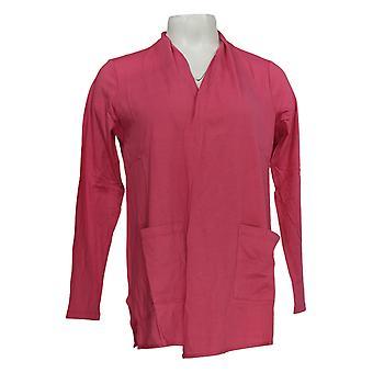 LOGO door Lori Goldstein Women's Top Open-Front Cardigan Pocket Pink A345358
