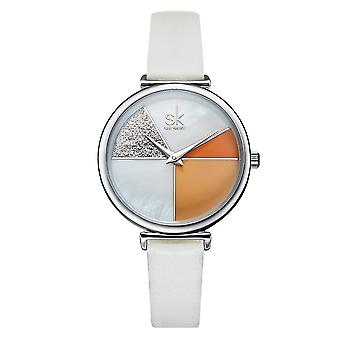 SHENGKE SK K0109 Fashion Color Segmentation Ladies Casual Dial Leather Band