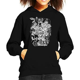 Seven Deadly Sins Character Montage Light Kid's Hooded Sweatshirt