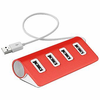 Aquarius 4 Port Aluminium USB Sleek Design Hub avec câble blindé, rouge