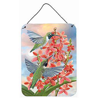 Svart Chinned Kolibrier Orkidéer Vägg eller dörr hängande utskrifter
