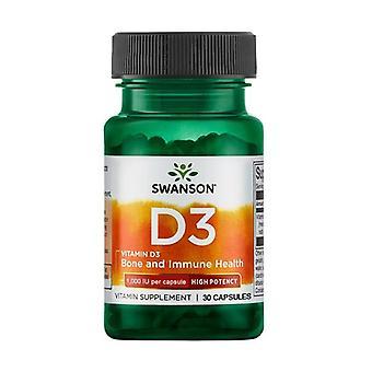 Vitamin D3 - High Potency 1,000 IU 30 capsules of 25μg