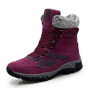 Leather Men Boots With Fur, Super Warm Snow Shoes, Ankle Snickers