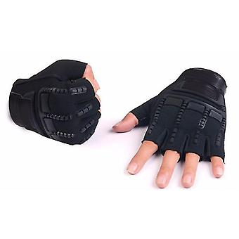 Kids Tactical Fingerless Gloves, Military Armed Anti-skid Rubber Knuckle Half