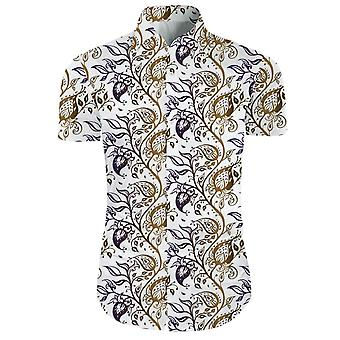 Mens 2 Pieces 3d Floral Print Casual Button Down Short Sleeve Hawaiian Shirt And Shorts Set Snow White