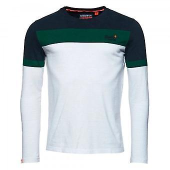 Superdry OL Engineered Stripe LS T-Shirt blanc 01C