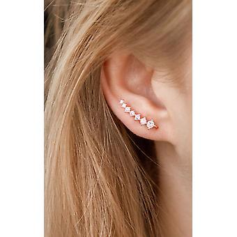 ローズゴールドクリスタルの耳のクライマーイヤリング