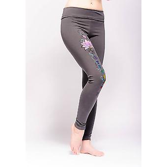 Synergy Chakra Yoga Leggings - Grey, Handpainted