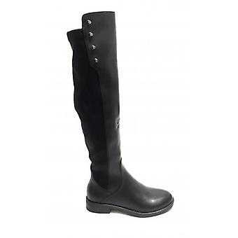 Women's Shoes Gold&gold Boots In Faux Leather and Stretch Fabric Black Color D20gg29