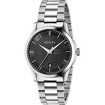 Gucci Ya126457 Czarna tarcza zegarek ze stali nierdzewnej dla mężczyzn