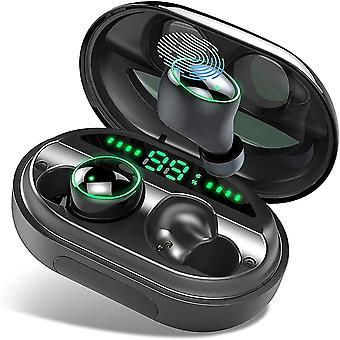 Bluetooth 5.0 Hörlurar, Trådlös hörlurar IPX8 Vattentät 150H TWS Stereo 3500mAh Laddningsfodral, Bluetooth-headset med mikrofon, AAC 8.0 CVC 8.0 Brusreducering för sport