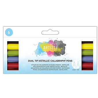 Dual Tip Calligraphy Pens - Pack of 6 Colours